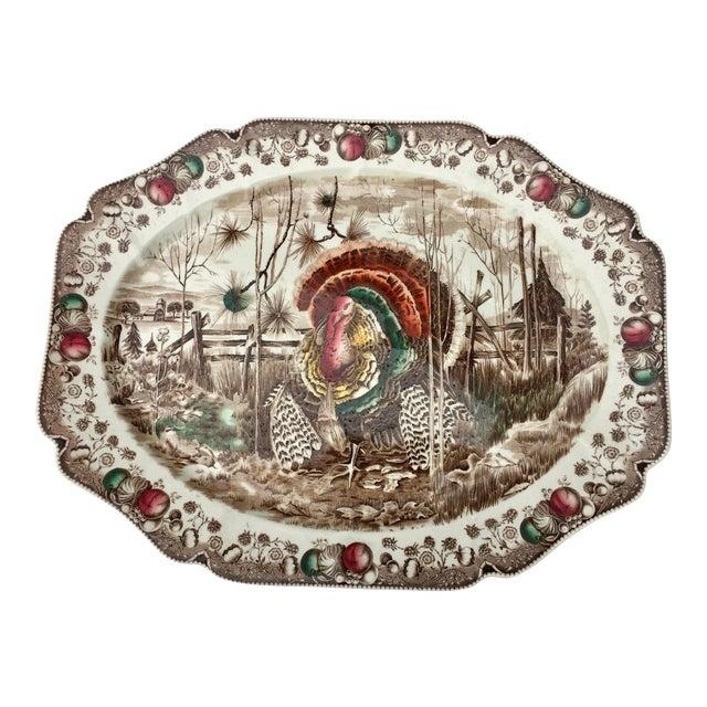 English Transferware Turkey Platter For Sale