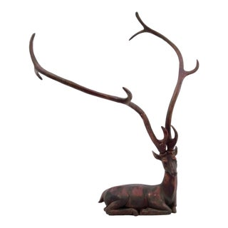 Deer or Stag With Oversized Antlers Vintage Resin For Sale