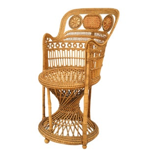 English Regency Wicker Arm Chair For Sale