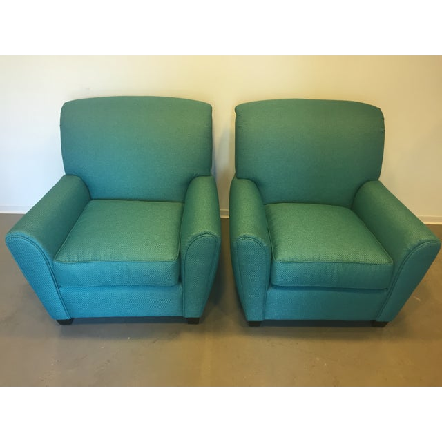Turquoise Club Chairs - A Pair - Image 2 of 9