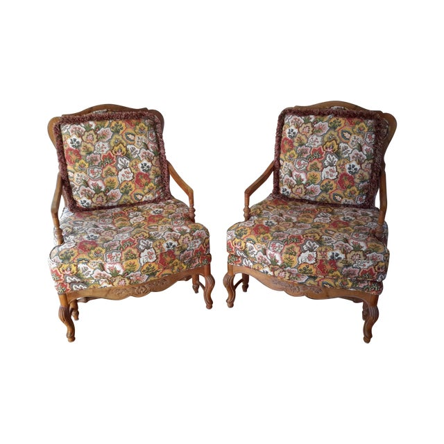 Country French Style Chairs and Ottoman Set - Image 3 of 7