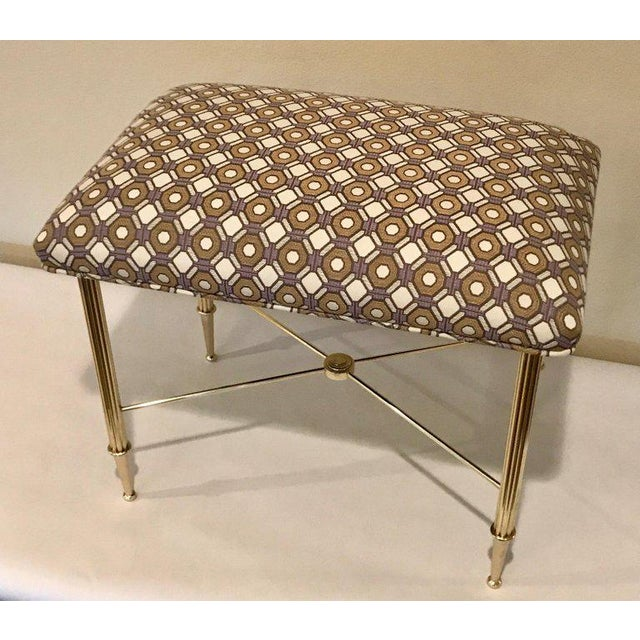 French Upholstered Brass With Reeded Legs Bench / Stool For Sale - Image 4 of 13