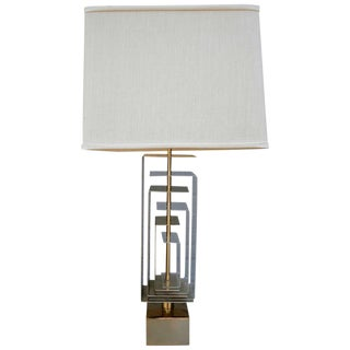 Pair of Brass and Acrylic Lamps by Laurel For Sale