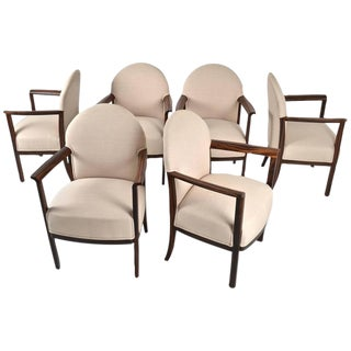 1930s Zebra Wood Belgian Dining Chairs - Set of 6 For Sale