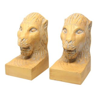 Vintage Hand Carved Lion Head Bookends For Sale