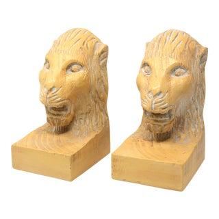 Vintage Hand Carved Lion Head Bookends For Sale