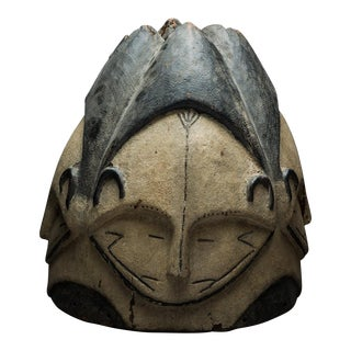 Fang Wooden Polychrome Ngontang Helmet Mask For Sale