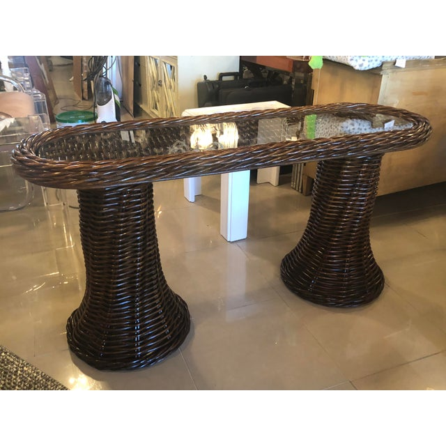 Glass Vintage Double Pedestal Braided Wicker Console Table For Sale - Image 7 of 13