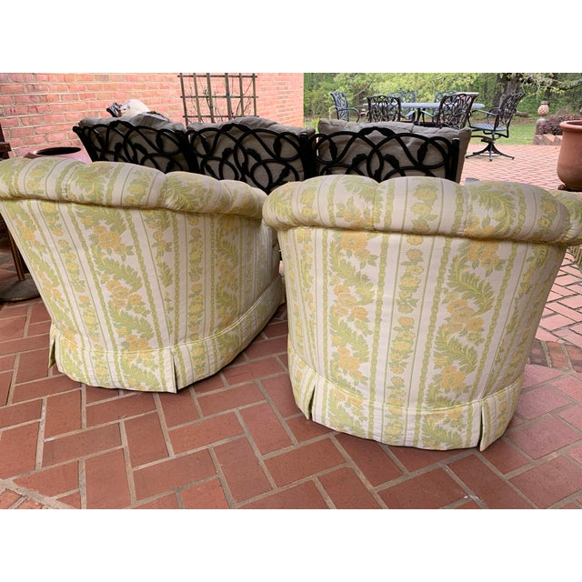 Beautiful pair of rare matching W & J Sloane tub chairs in gorgeous original green and golden yellow stripe and floral...