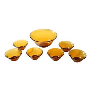 Vintage Mid-Century Modern Amber Glass Bowl Serving Set - Set of 7 For Sale