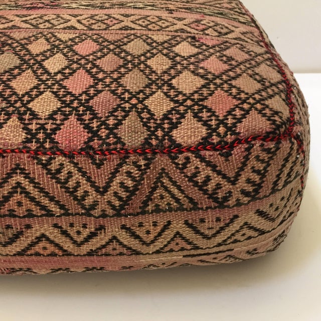 Mid 20th Century Vintage Moroccan Tribal Floor Pillow For Sale - Image 5 of 13