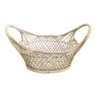 Vintage Oval Wicker Basket Tray With Handles For Sale