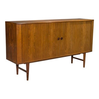 1960s Danish Modern High Rosewood Sideboard With Tambour Doors For Sale