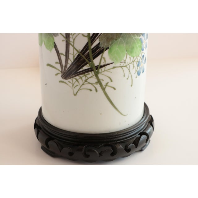 Early 20th Century Chinese Porcelain Hat Stand Table Lamp For Sale - Image 5 of 8