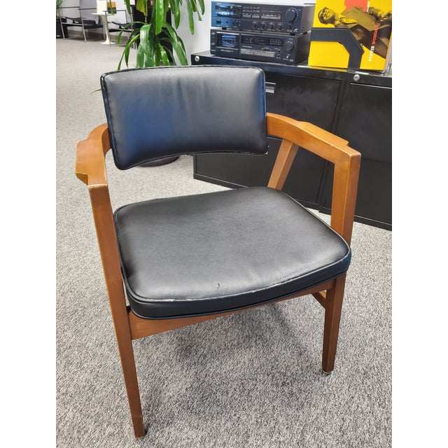 Wood Vintage Wooden Mid Century Modern Gunlocke Co. Floating Accent Desk Arm Chair For Sale - Image 7 of 7