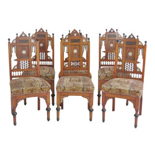 Moroccan Carved Inlaid Side Chairs - Set of 6