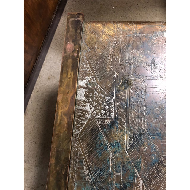 Metal Philip and Kelvin LaVerne Etched Bronze Waterfall Side Table For Sale - Image 7 of 8