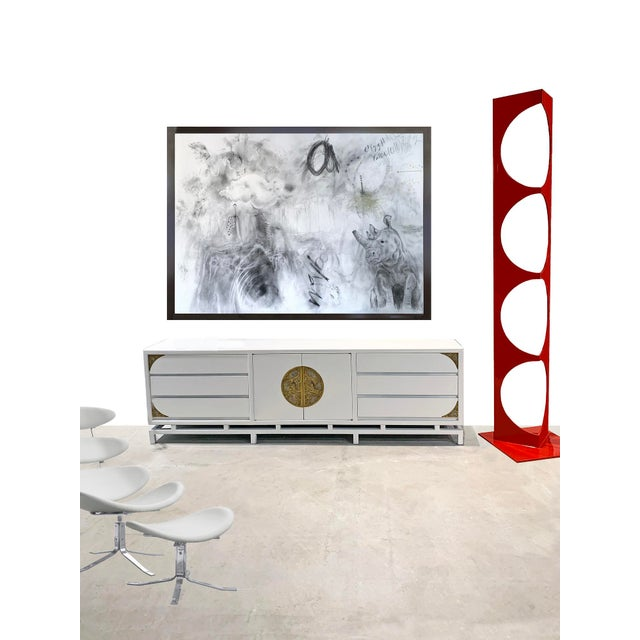 White Lacquered Console/Credenza With Brass Asian Motif Accents For Sale In Palm Springs - Image 6 of 10