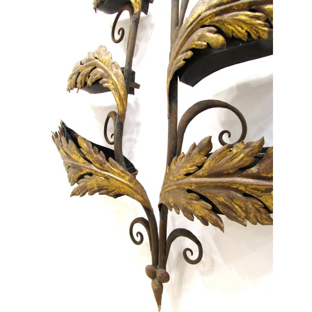 Wrought Iron and Gilt Garden Wall Hanging For Sale - Image 4 of 11