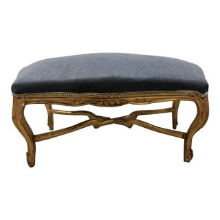 Vintage Louis XV Gray Velvet Upholstered Giltwood Curved Top Bench Pedestal For Sale