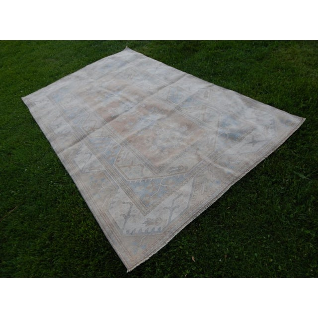Distressed Oushak Hand Knotted Rug - 5′2″ × 8′4″ For Sale - Image 9 of 9