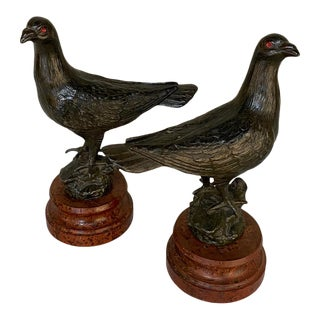 Pair Antique Pigeon Statues ~ Bookends on Faux Marble Bases For Sale