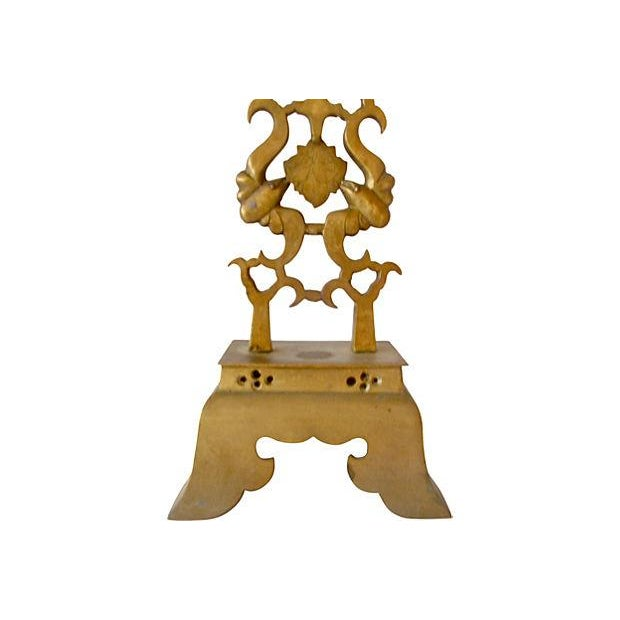 Brass Chinese Altar Candlestick Holder - Image 3 of 4