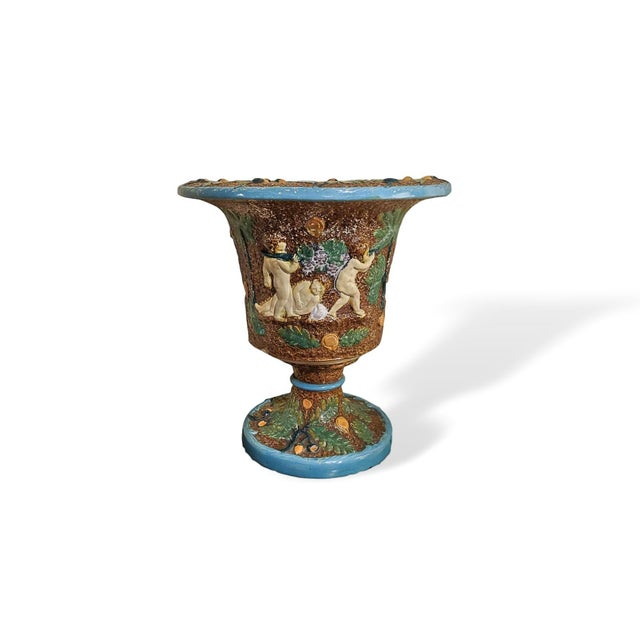 19th Century Majolica Urn by William Bronwfield For Sale - Image 6 of 6