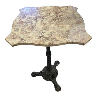 Vintage French Bistro Table With Blush Marble Top For Sale