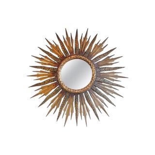 Midcentury French Sunburst Mirror With Feathered Rays and Original Mirror Glass For Sale