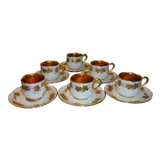 Vintage Oac Okura Porcelain China Demitasse Cups & Saucers - Set of 12 For Sale