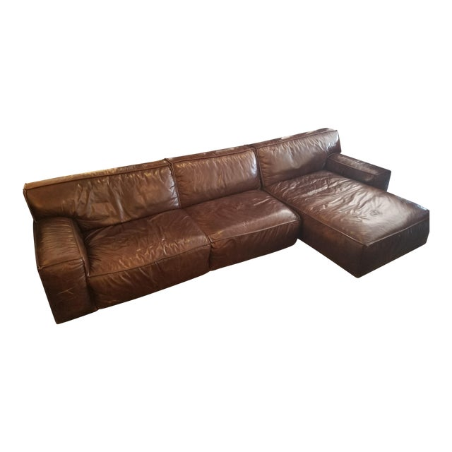 American Leather Oversized Brown Leather Sectional Sofa Chairish