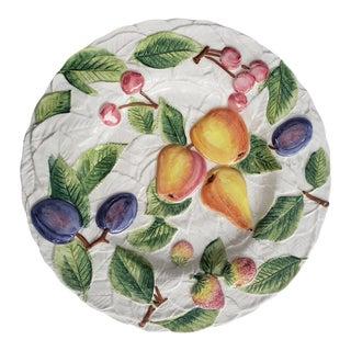 Italian Ceramic Embossed Apple Cherries and Plum Fruit Platter For Sale