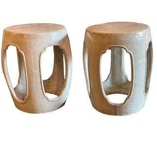 French Country Beige Glazed Garden Seats - a Pair For Sale