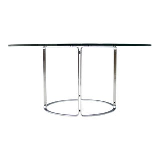 Large 60`Dining Table in Glass and Steel by Horst Bruning for Kill International For Sale