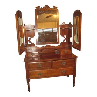 Bi-Fold Beveled Glass Mirrors Dresser For Sale
