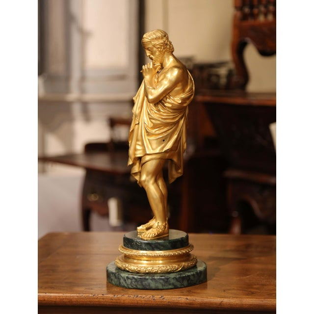 Metal Mid-19th Century French Bronze Dore Sculptor Figure on Green Marble Base For Sale - Image 7 of 13