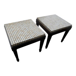 Designer Cube Top End / Side Tables- a Pair For Sale