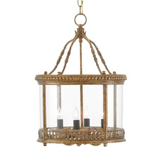 French Currey & Co. Grayson Gold Metal Lantern For Sale