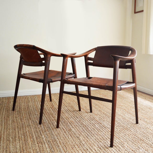 Vintage Rolf Rastad & Adolf Relling for Gustav Bahus Leather Bambi Chairs- a Pair For Sale In Los Angeles - Image 6 of 9