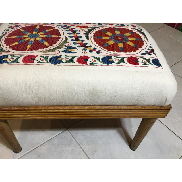 Vintage Upholstered American Sitting Stool For Sale - Image 10 of 13