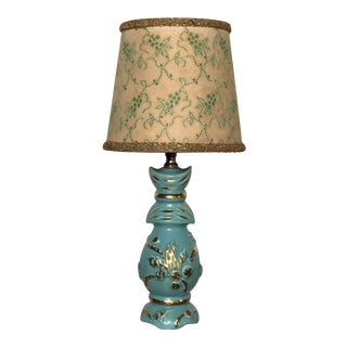 Mid Century Turquoise and Gold Table Lamp With Original Floral Shade For Sale