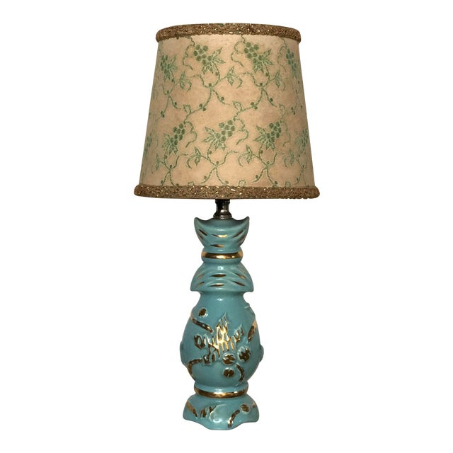 Midcentury Turquoise and Gold Table Lamp With Original Floral Shade For Sale