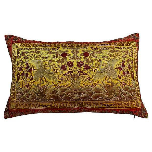 Gold Embroidered Silk Boudoir Pillow - Image 1 of 4