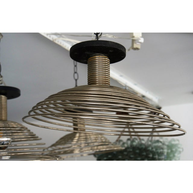 Black Spiral Spring Chrome Industrial Style Chandelier by Angelo Mangiarotti For Sale - Image 8 of 13