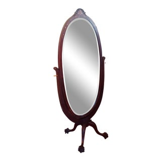 Late 19th Century Mahogany Inlaid Cheval Mirror For Sale