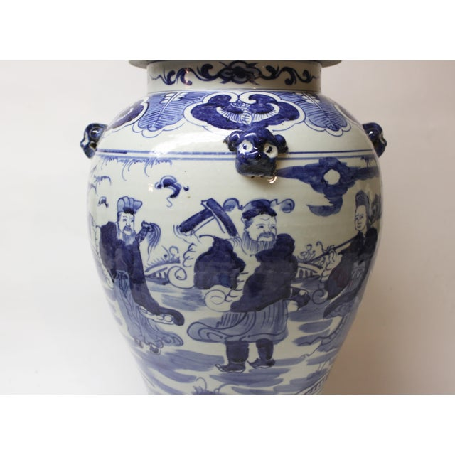 Mid 20th Century Large Chinese Blue and White Covered Jar For Sale - Image 5 of 12