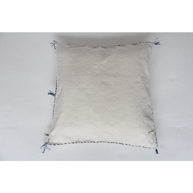 White Blue And Tan Cactus Silk Pillow - Image 4 of 4
