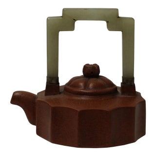 Chinese Zisha Jade Stone Handle Teapot Display Art For Sale