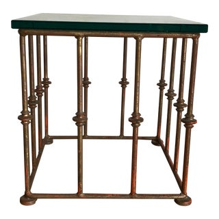 20th Century Italian Metal Side Table Base With Glass Top For Sale